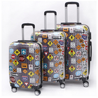 marker print 3pc set Hardside 4 Wheels spinner ABS PC print luggage trolly bags