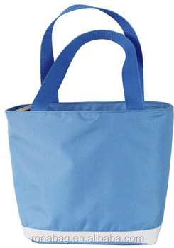 600D polyester folding tote lunch cooler bag