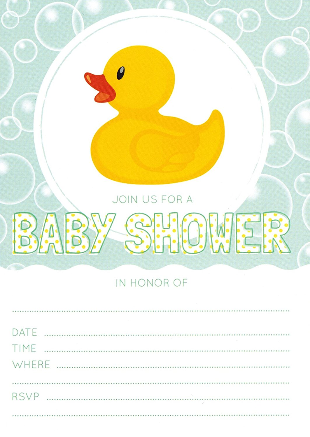 Rubber Ducky Baby Shower Invitations - 48 Invites and 48 Envelopes