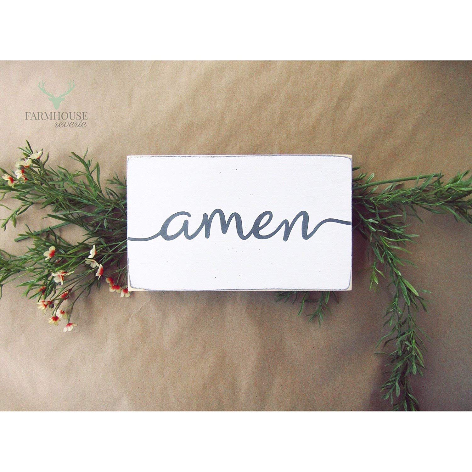Rustic Amen Sign (Small Rustic Wood Sign, Farmhouse Sign, Shabby Chic Sign, French Country Signs, Farmhouse Home Decor, Rustic Home Decor, Primitive Signs, Primitive Decor, Shabby Chic Decor)