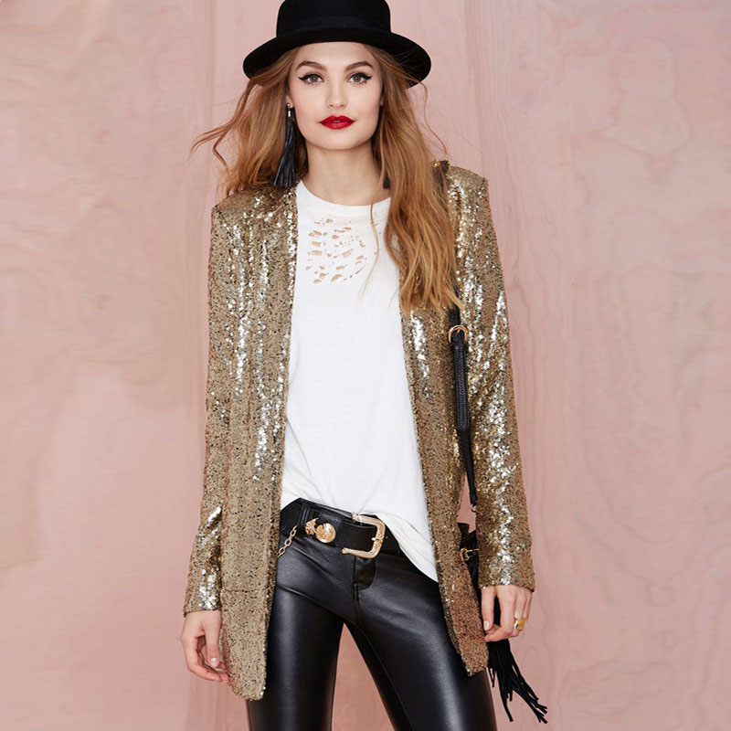 27a34d0289c4a W2723 2017 New Spring Style Vogue Women Gold Sequins Jackets Long Sleeve  Fashion Coats Outwears - Buy Jackets,Women Gold Sequins Jackets Long Sleeve  ...