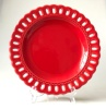 9 inch red round cake ceramic home decoration plate with openwork carving rim