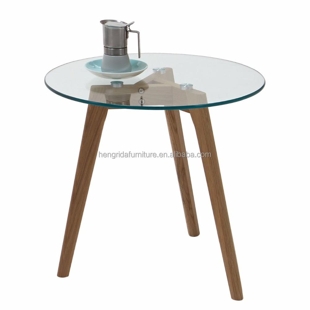 Scandinavian Small Round Glass Coffee Table With Solid Oak Legs Buy Small Glass Coffee Table Product On Alibaba Com