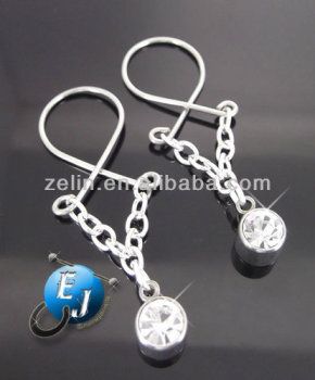 Pair non piercing crystal dangle nipple rings sexy body for Types of body jewelry rings
