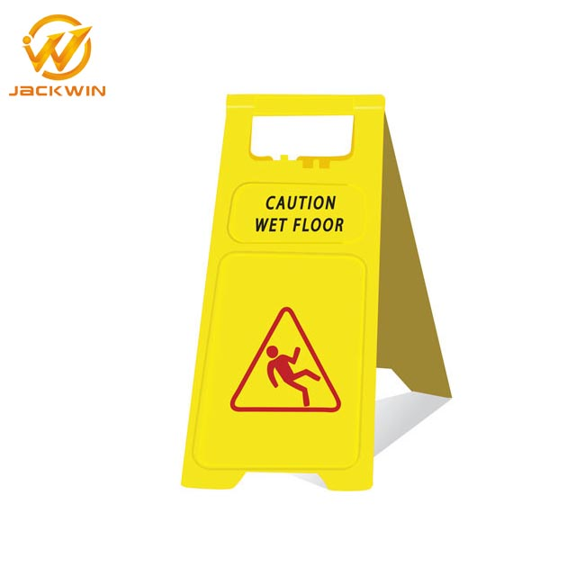 Yellow Plastic Temporary Wet Floor Warning Sign Board In Hotel