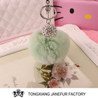 2017 Popular Rabbit Fur Pom Custom Metal Keychain Keyring