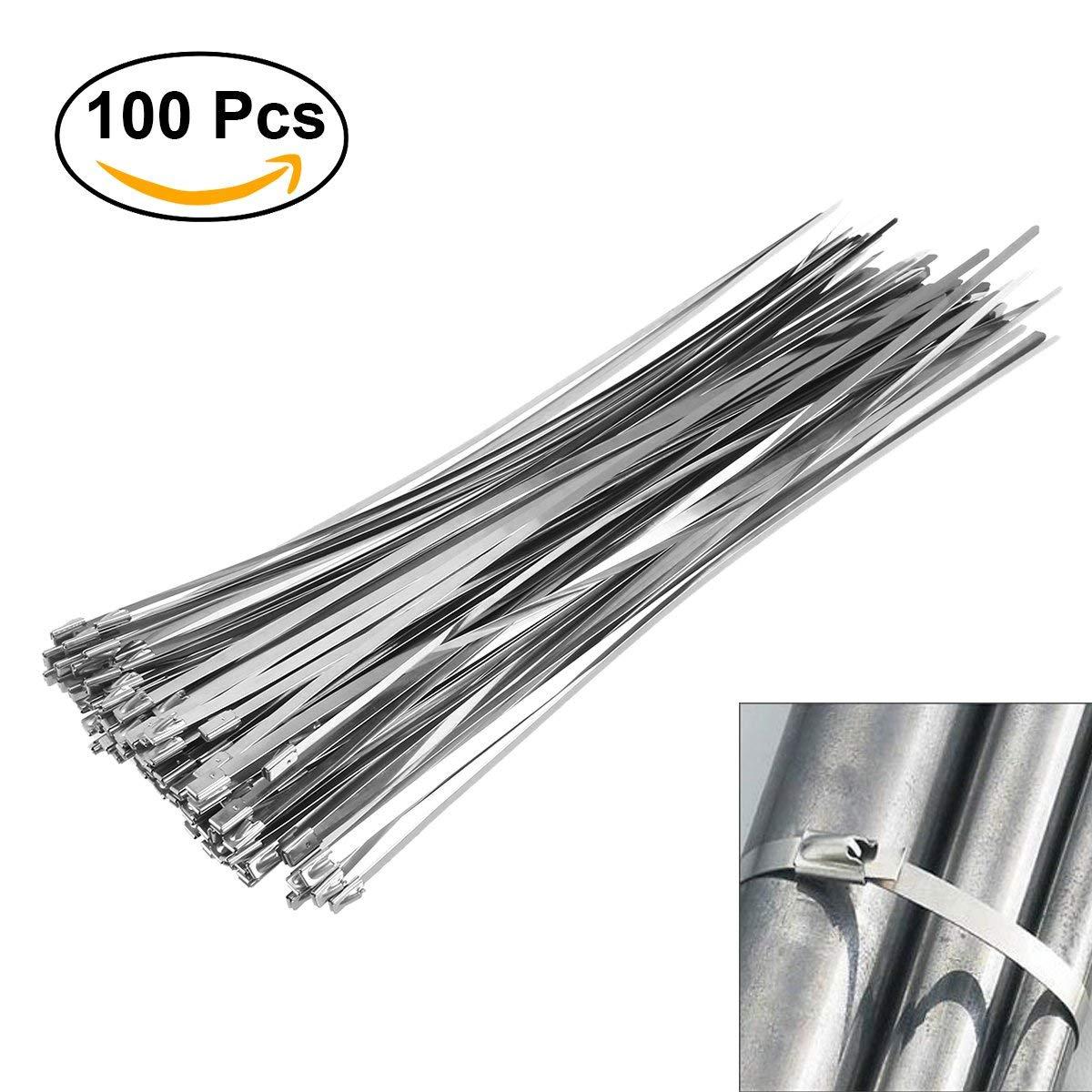 OUNONA 100pcs 4.6mm300mm Stainless Steel Cable Zip Ties Exhaust Wrap Multi-Purpos Locking Cable Metal Zip Ties