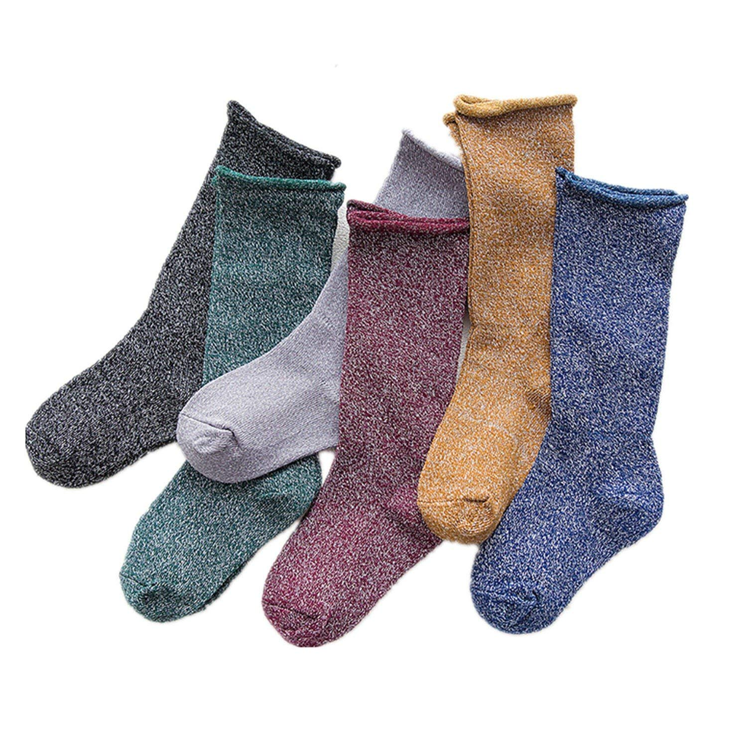 4a9ca6a8bc Get Quotations · JIEYA 3-Pack or 6-Pack Baby Toddler Silver Thread Loose  Style Crew Socks