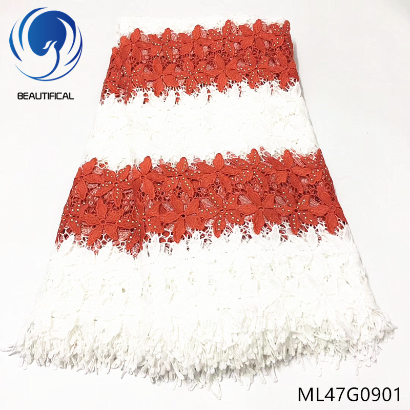 Beautifical africana de encaje muestras de tela de encaje de dubai de guipur encaje ML4G351