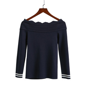 Hot Selling Crew Neck Striped Cuff sweater company wholesale woman