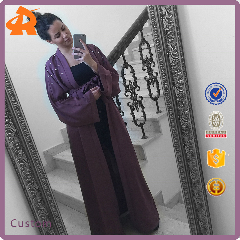 custom make hot selling new design pearl abaya,purple kaftan dubai abaya