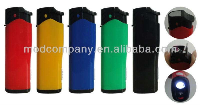 solid five colors , plastic Piezo Windproof Lighter with LED