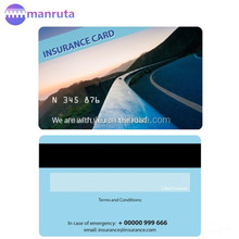 leading manufacture pvc Insurance cards with offset printing, emboss, magnetic stripe and signature panel