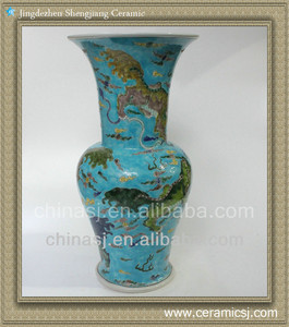 "RYQQ26 17"" hand painted beaker vase qing in chinese"