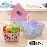Top 10 save 5% free sample ecofriendly 12L white plastic home storage/gift/fruit wicker basket with cover