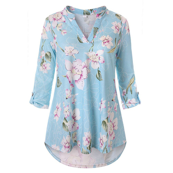 Womens Three Quarter Sleeve Floral Tunic Top for Leggings
