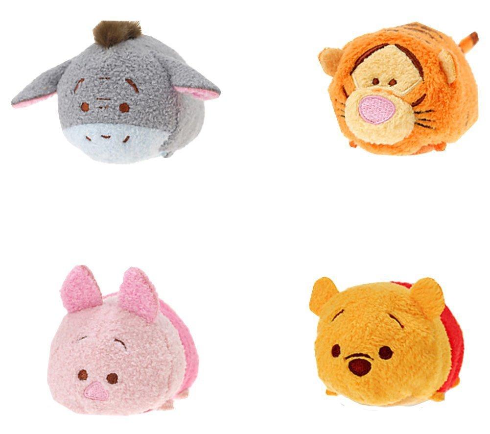 Disney Winnie the Pooh and Pals ''Tsum Tsum'' Plush - Mini - 3 1/2'' Tigger, Piglet, Pooh, and Eeyore