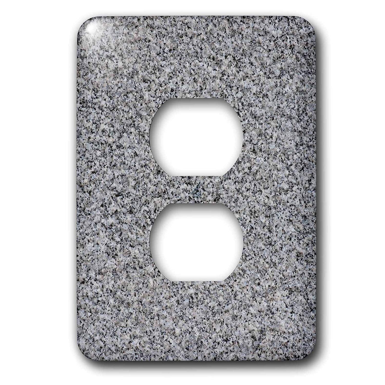 3dRose Alexis Photography - Texture Stone - Image of polished granite plate of dark grey, light beige colors - Light Switch Covers - 2 plug outlet cover (lsp_285837_6)