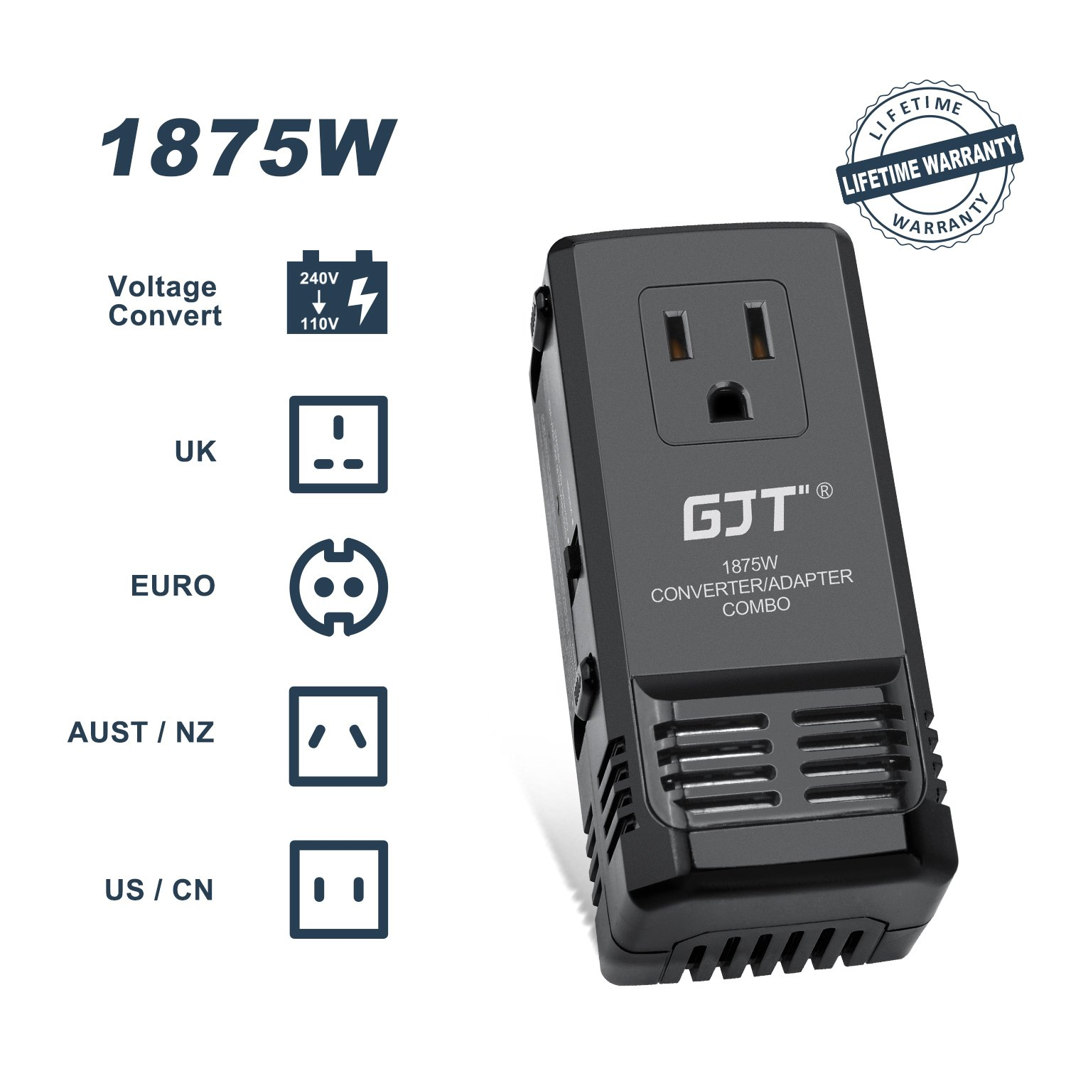 GJT 1875W International Power Converter and Adapter Combo, Step Down 240V-220V to 120V -110V AC Power Transformer for Hair Dryer etc,Universal Travel Adapter Plug UK/AU/US/EU Suits over 150 Countries
