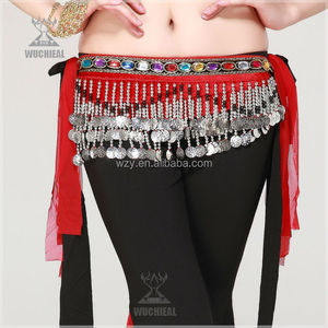 High Quality Silver Coins red Indian Belly Dance Belts belly dance waist belt