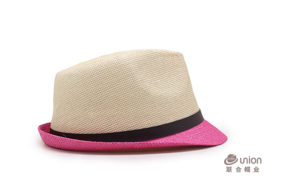 6e4dce7b Fashion Fedora Trilby Gangster Cap Summer Beach Sun Straw Panama Hat with  Ribbow Band Sunhat for men and woman