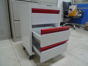 3 Tier Movable Metal Drawer Cabinet/ Metal File Cabinet Dividers/ Dental  Clinic Cabinet With