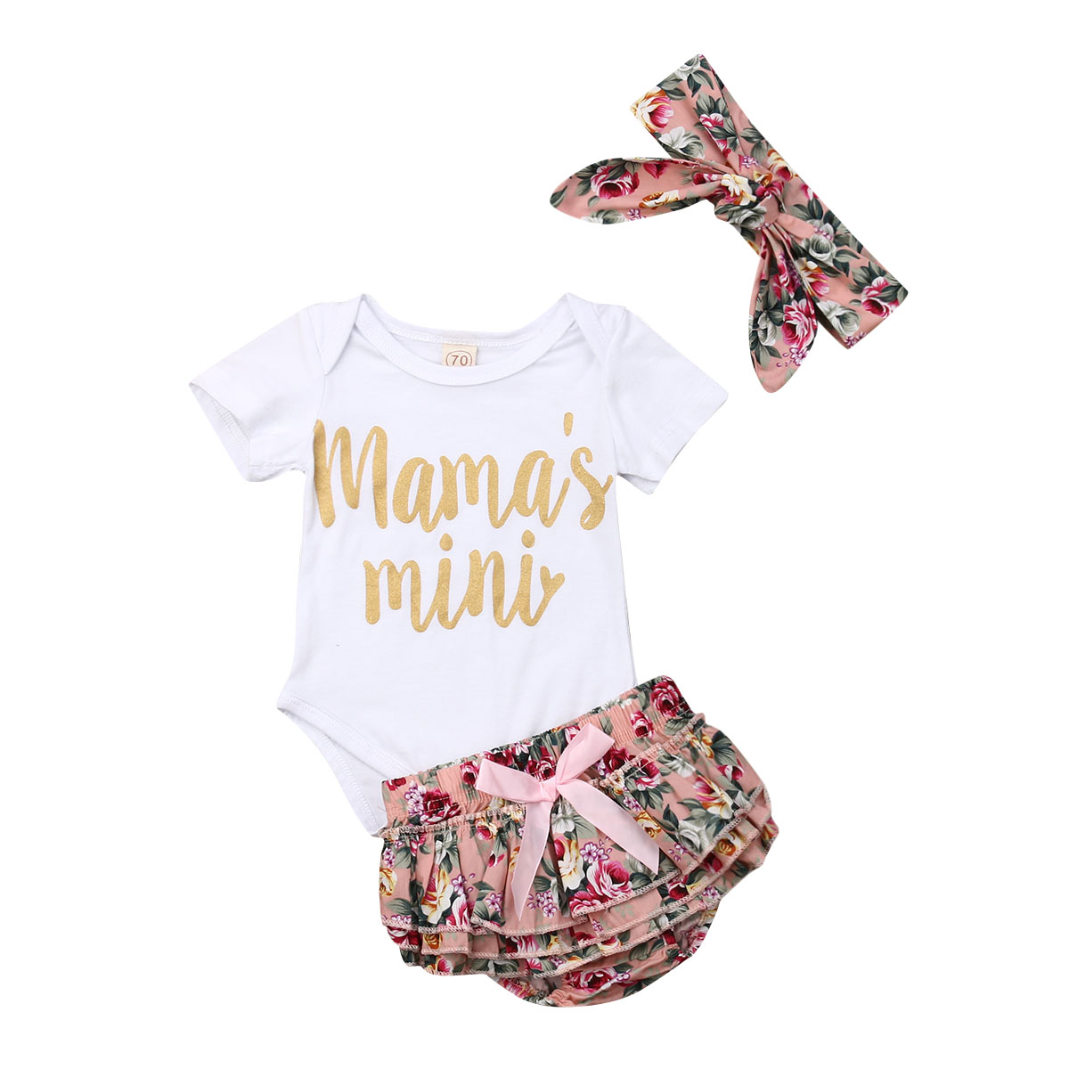 a3b8b85495f68 Newborn Baby Girl Cute Letter Print Bodysuits Carters+Floral Ruffles Bow  Tutu Skirts+Headband Bebe Girl Outfit Clothes Sets 3Pcs
