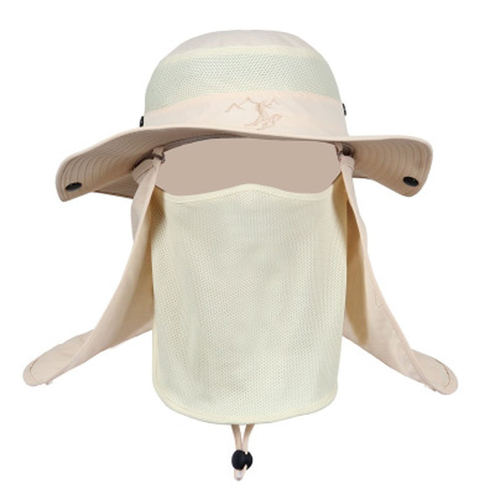 c004e1841e352 Get Quotations · Bowinr Fashion Summer Outdoor Sun Protection Wide Brim Cap  Removable Mesh Neck Face Flap Fishing Farmer
