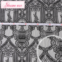 Knit Cheap Spandex Soft Thick Black Textile Lace Fabric