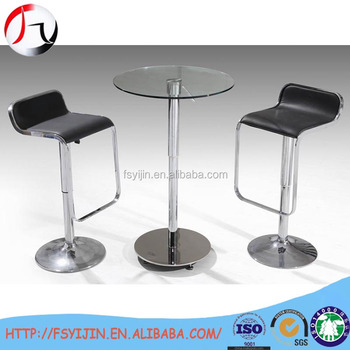 2 Seater Size Round Glass High Top Bar Club Table For Drinking