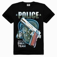 Wholesale 2015 New Style designer gun t shirt screen printing