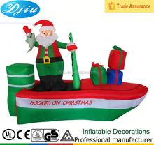 Inflatable Santa Claus On A Fishing Boat Christmas Yard Decoration 8 Ft Long NEW