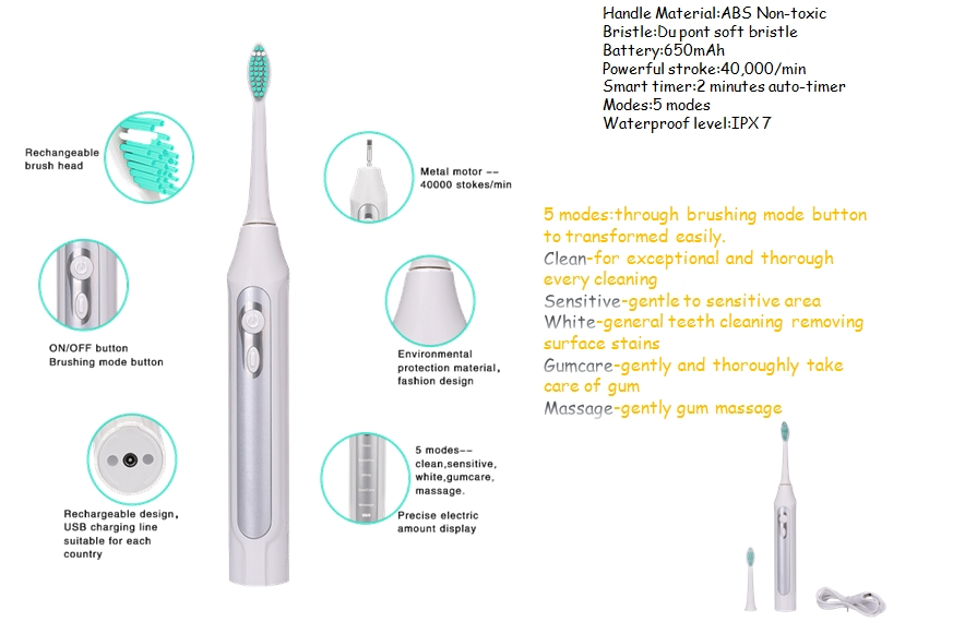 wholesale waterproof High Quality Rechargeable Professional nylon Sonic electric toothbrush