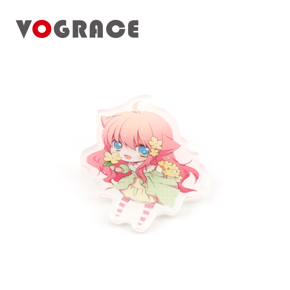 Vograce high quality wholesale custom shaped <strong>logo</strong> personalized blank plastic button acrylic badge