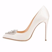 women shoes 2017 pump shoes white satin wedding shoes 10 cm toe high heels