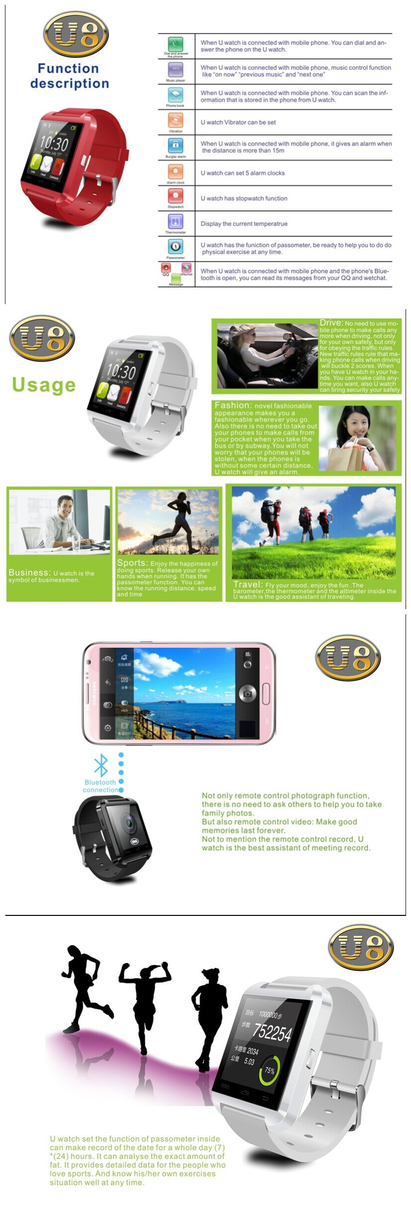 1.44inch smart watch U8 Bluetooth sync watch and Phone watch MTK6260--360MHz