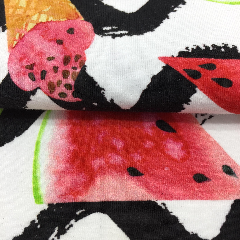 Cina Rifornimento Della Fabbrica di Alta Qualità di Stampa 95 Cotone 5 Spandex Tessuto Jersey Stampa Tessuto di Cotone