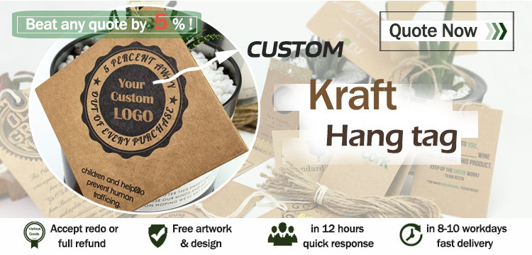 wholesale custom own logo kraft recycled paper hang tag for clothing