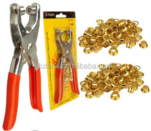 HEAVY DUTY LEATHER FABRIC EYELET PLIER HOLE PUNCH PLIERS WITH 100 EYELETS