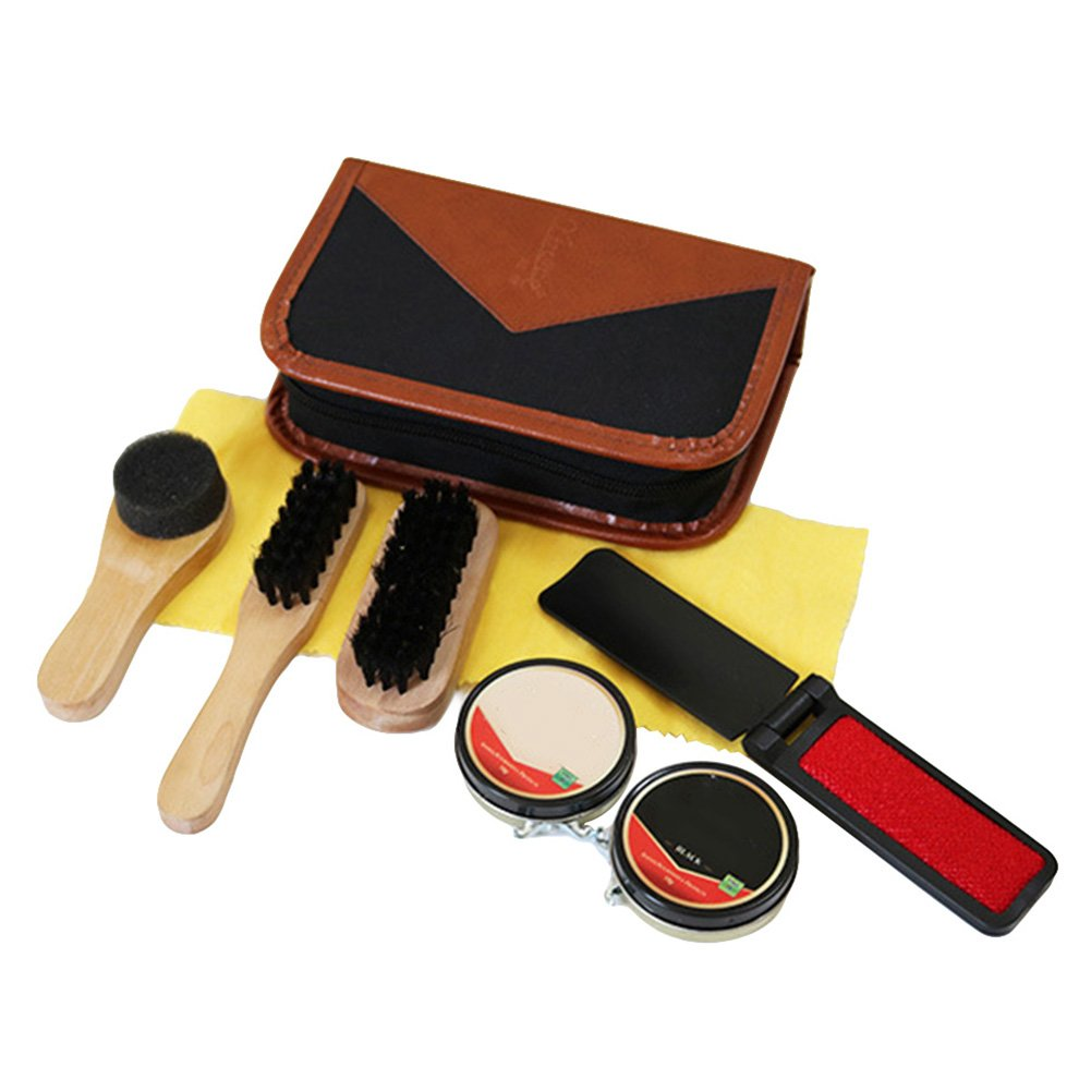 Shoe Shine Kit,SHZONS 7pcs Travel Shoe Shine Brush kit,Shoe Care Valet with PU Leather Sleek Case