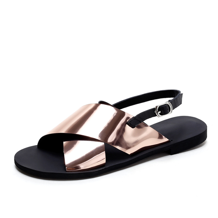 China wholesale flat shoes with buckle beautiful ladies sandals