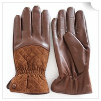 Camel Mens driving leather gloves