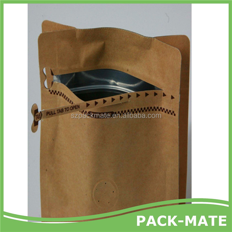 Print Custom Zip Lock Stand up Kraft Paper Coffee Bag with Valve and zip