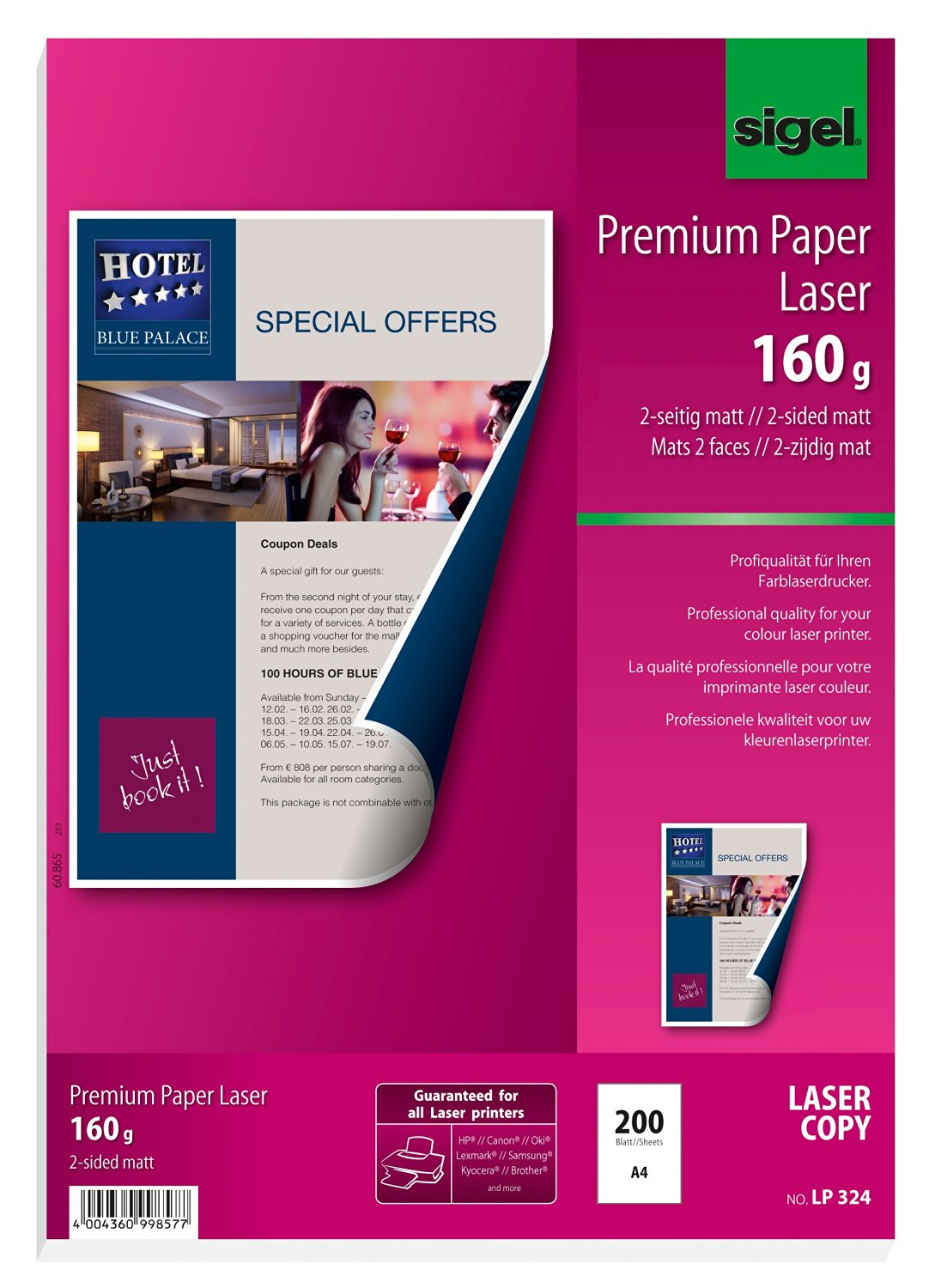 Sigel LP324 Premium Quality Paper for Colour Laser/Copier, 2-sided matt, 108.1 lbs, A4, 200 sheets