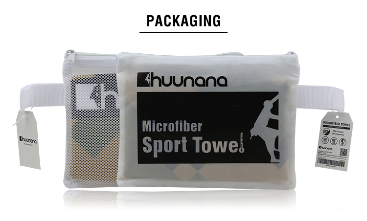 READY TO SHIP Huunana Brand Lightweight Easy Carrying Fitness Towel Rectangular Microfiber Towel for Gym