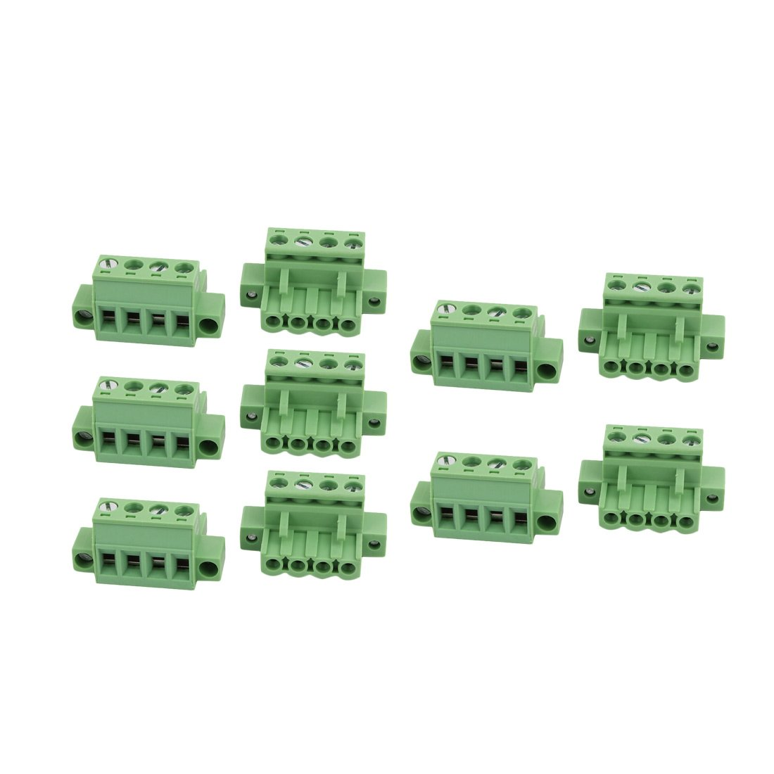 uxcell 10Pcs LC1M AC300V 15A 5.0mm Pitch 4P PCB Terminal Block Wire Connection