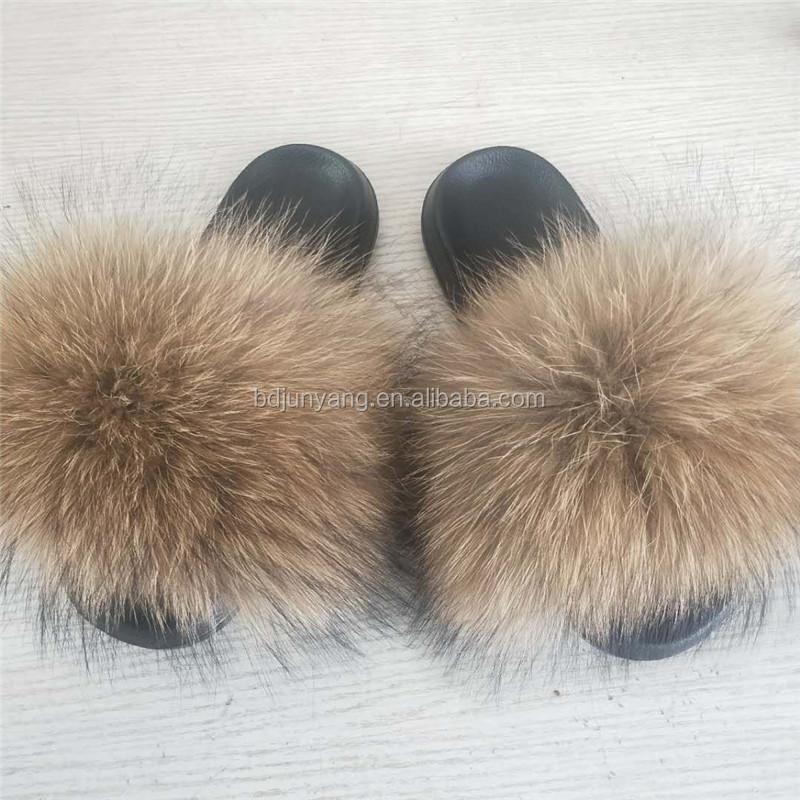 luxury fluffy raccoon fur slippers women's sandals slippers fur slides