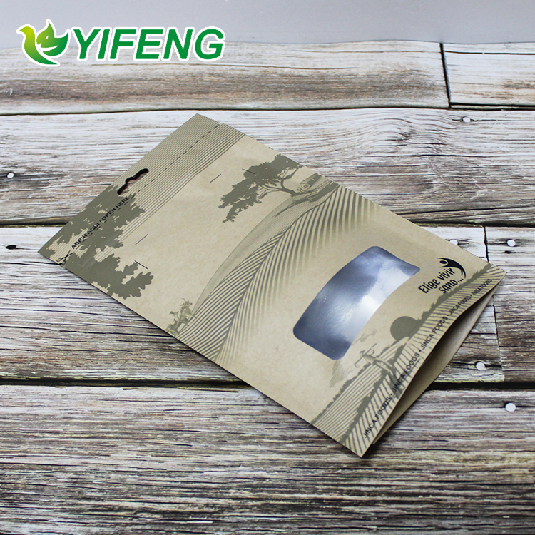 Grease Proofing Aluminum Foil Kraft Paper Plastic Bags With Zipper And Tear Notch For Packing Crepes