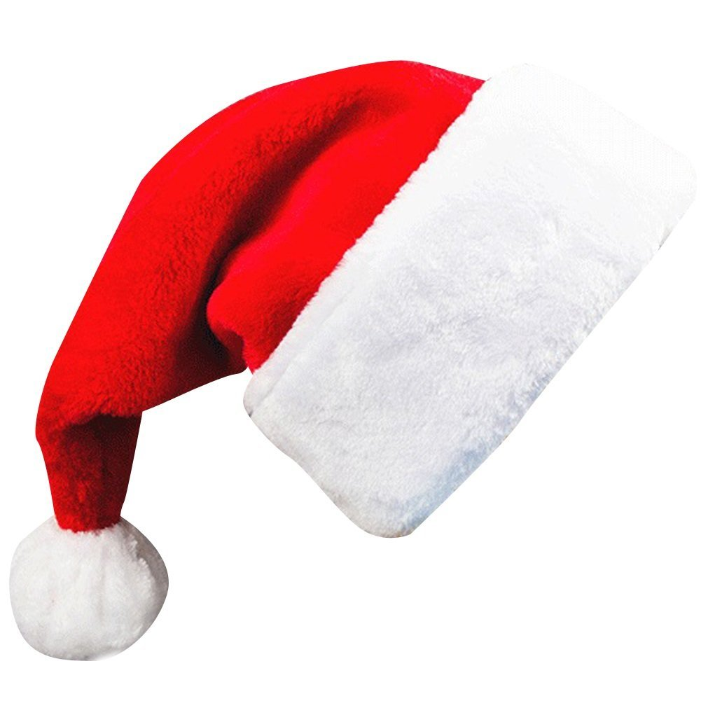 Adults' Christmas Santa Claus Hat,Plush Xmas Cap,Velvet Headwear 18.5X12 Inch 1 Pack Red