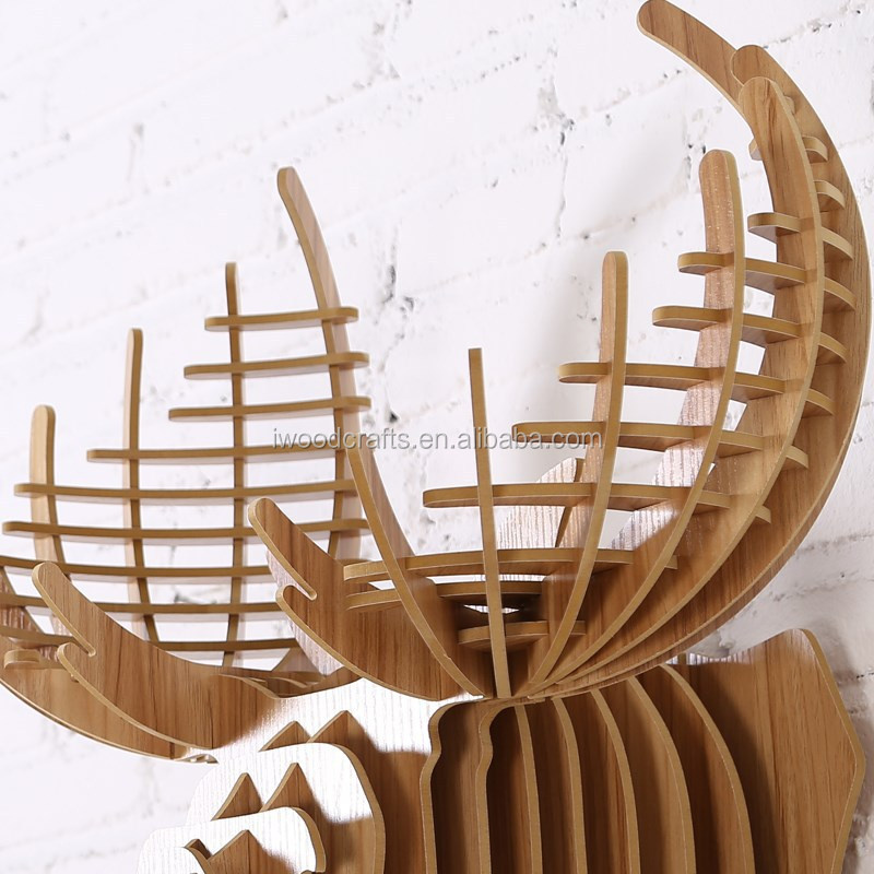 현대적인 빈티지 동물 사슴 조각 나무 예술과 공예 빈티지 홈 ...